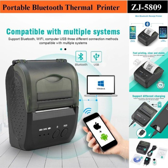 Foto Produk MINI PORTABLE PRINTER PPOB/KASIR 58MM THERMAL ZJIANG-5809 BLUETOOTH dari Barcode Zone