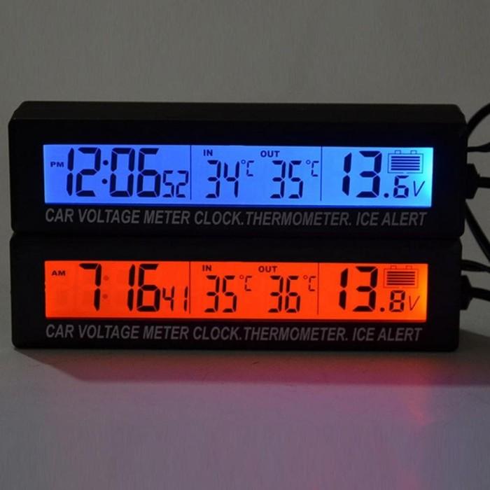 Foto Produk Jam Digital LCD Mobil dengan Thermometer + Battery Voltage Monitor - dari Gadgettop