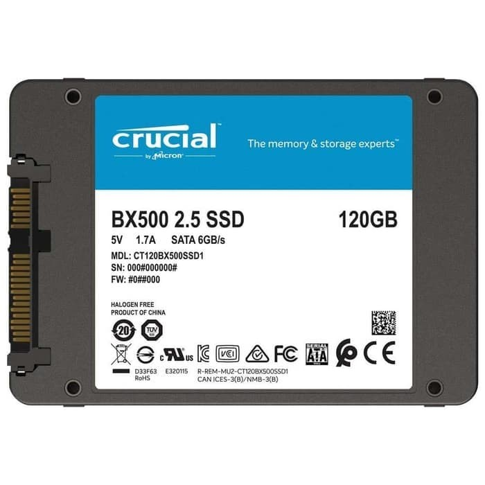 Foto Produk Crucial SATA 2.5 Internal SSD 6GB/s 120GB - BX500 - Black dari TokoSetia