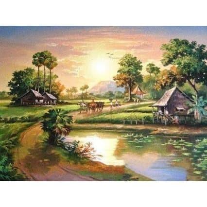 48+ Lukisan Pemandangan Pagi Hari Terbaik