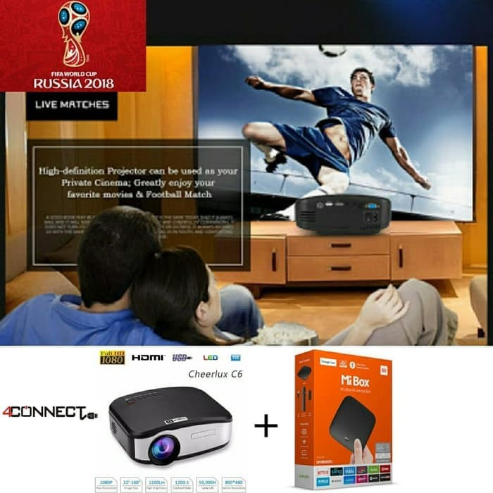 Foto Produk Cheerlux C6 Mini Projector + Full Apps Edition Xiaomi Mi Box 3 Inter dari Aan Jaya Mart