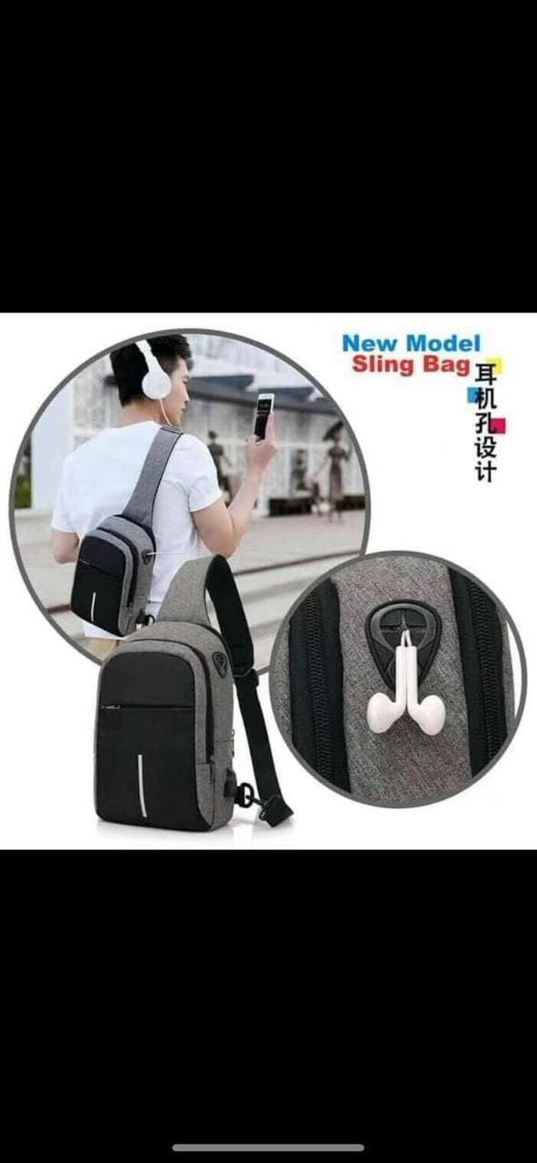 Foto Produk TAS SELEMPANG / SLEMPANG ANTI MALING ANTI AIR SLING BAG PRIA+ PROT USB dari Kholid Store Jaya