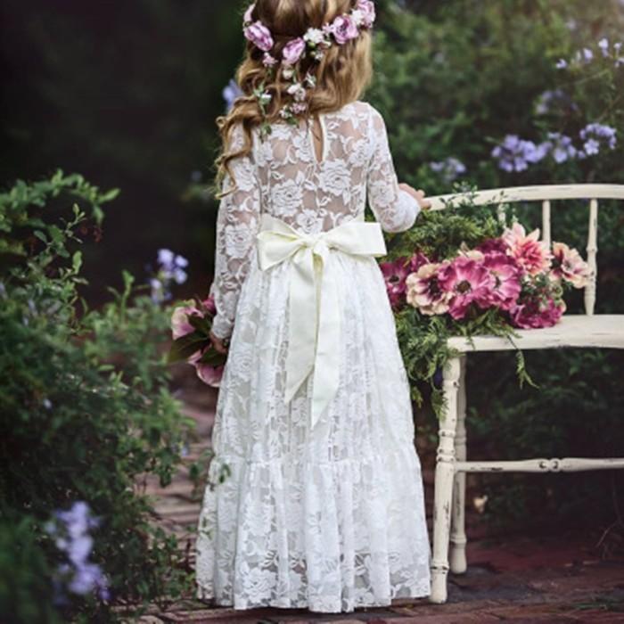 Foto Produk Gaun Anak Lace Gadis Lengan Panjang Gaun Putri Bunga dari septo star