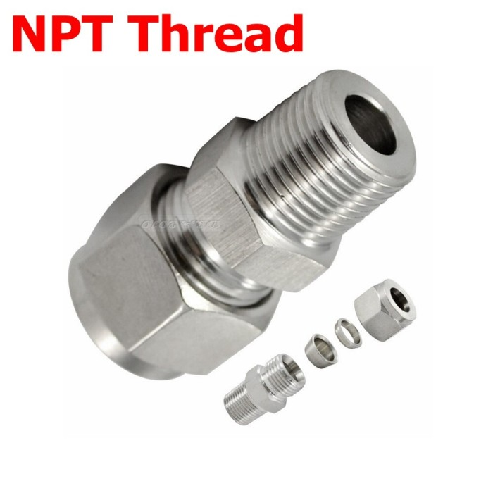 """3//8/"""" Tube OD RUBBER FERRULE Compression  to 1//2/"""" Male NPT Fitting  Connector"""