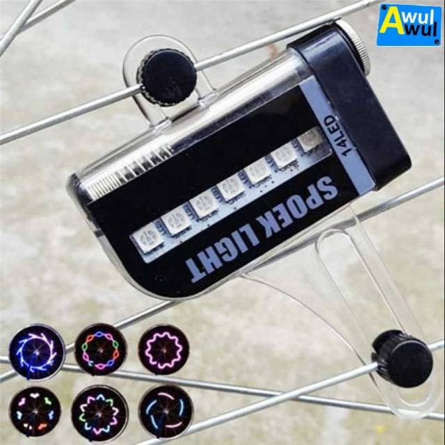 Foto Produk Lampu Ruji Roda Sepeda 14 LED Auto Light 30 Pola Spoek Spoke Light dari andri756