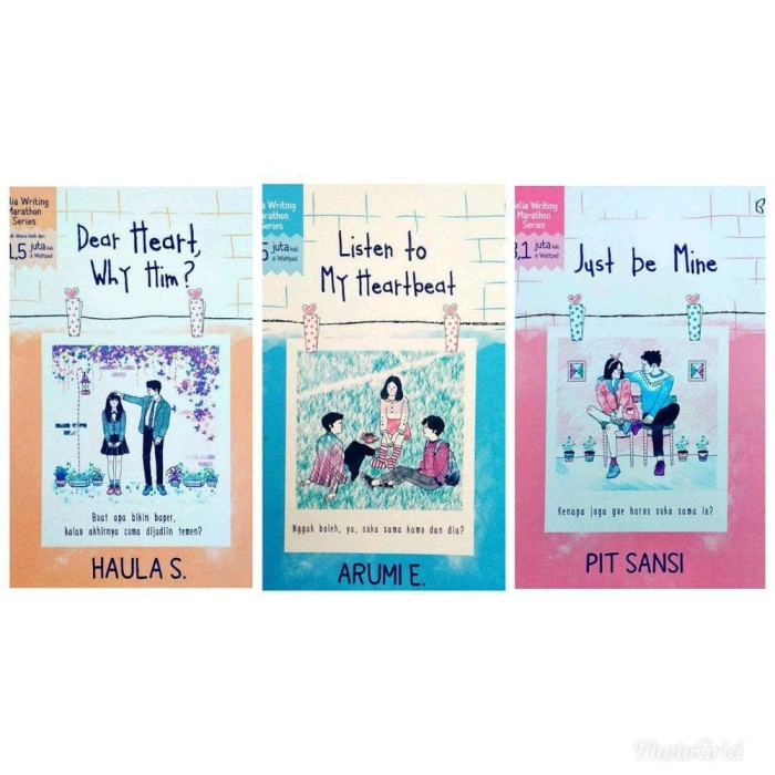 Foto Produk Novel Paket 3 - LISTEN TO MY HEARTBEAT - JUST BE MINE - DEAR HEART WHY dari Venusss_store