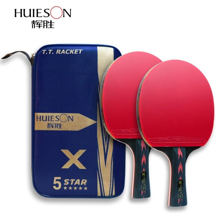 Foto Produk PROMO Huieson 2Pcs Upgraded 5 Star Carbon Table Tennis Racket Set dari Evelyn Store07