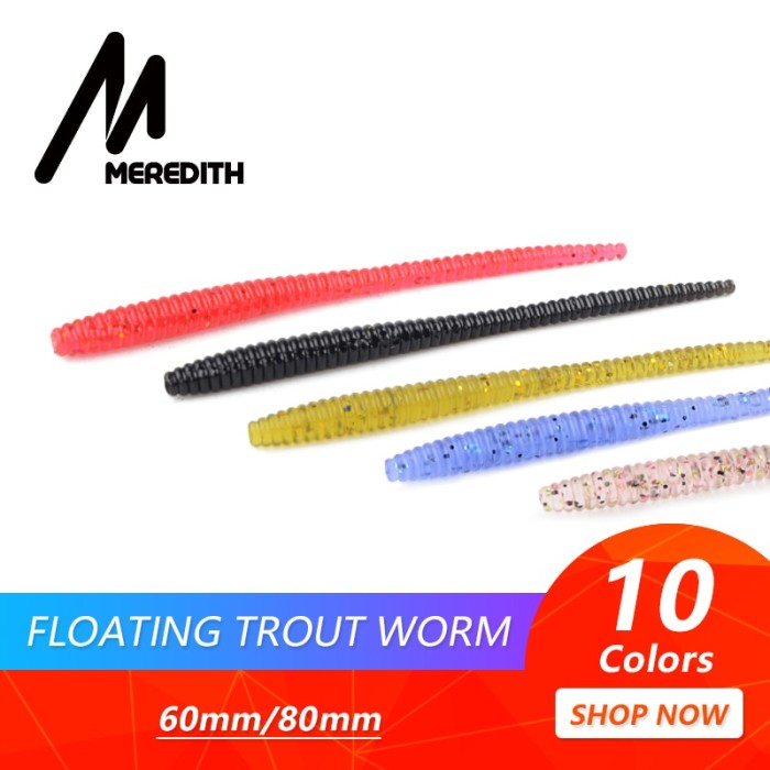 Foto Produk PROMO MEREDITH Slow SinkingTrout Worm Soft Baits 60mm 80mm dari Evelyn Store07
