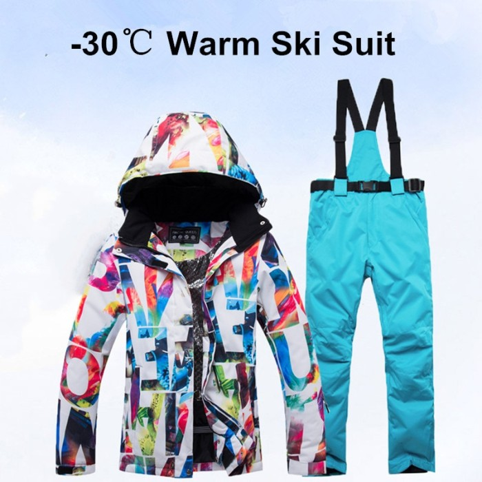 Foto Produk PROMO New Thick Warm Ski Suit Women Waterproof Windproof Skiing and dari Evelyn Store07