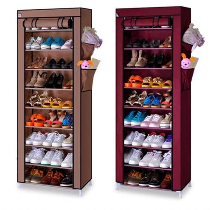 Foto Produk Rak sepatu cover 10 susun/ shoe rack with dust cover dari hinatahstore