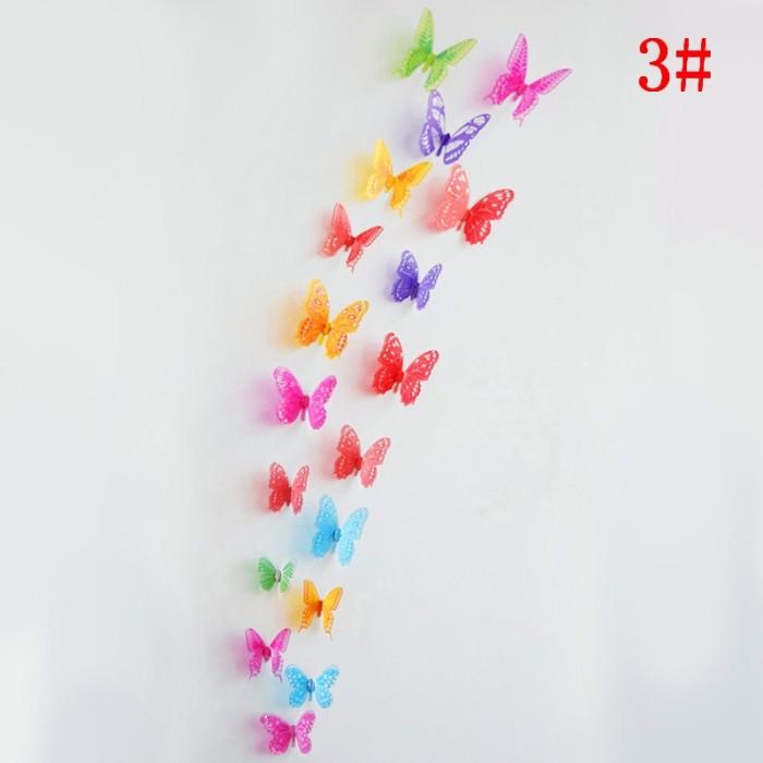Foto Produk 18 pcs / lot 3d kristal Kupu-kupu Wall Sticker Art Decal dekorasi dari Jujuwlstore