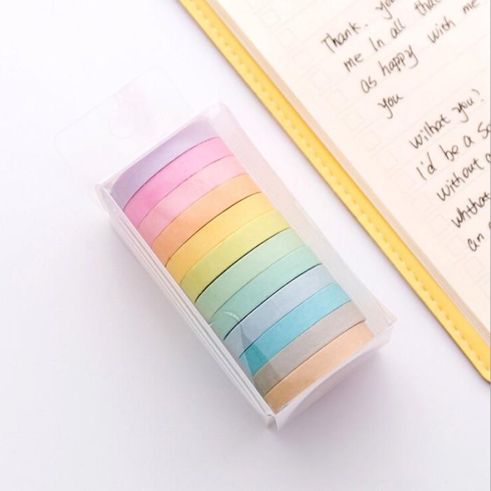 Foto Produk 10Pcs Selotip Kertas Warna-Warni Panjang 5M untuk Scrapbook dari Jujuwlstore