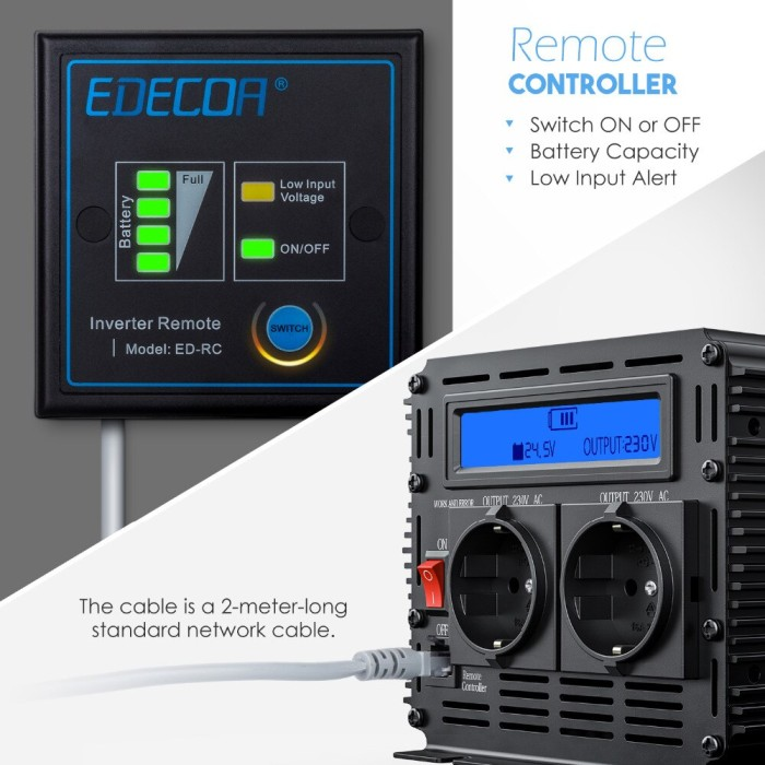 2000W//12V with LCD /& USB Remote Control and Dual USB EDECOA 2000W Power Inverter DC 12V to 240V 230V 220V AC with LCD Display