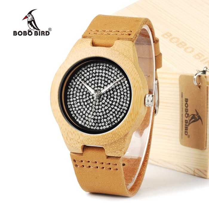 Foto Produk Jam Tangan Fashion Cewek & Cowok Desain Kayu Dengan Tali Asli Kulit Sa dari Tuku Onlen Jam