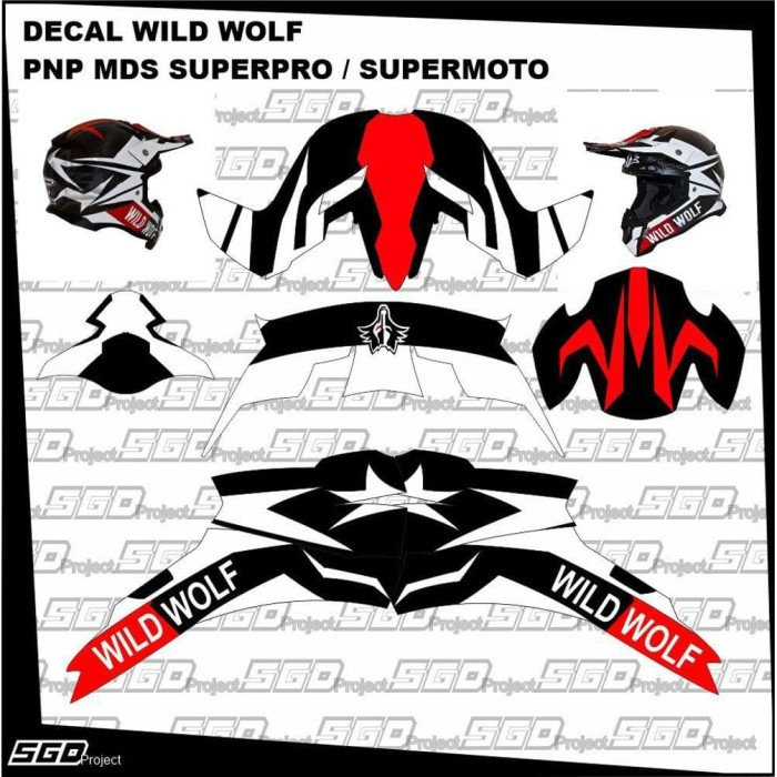 Foto Produk Stiker Decal Helm Wild Wolf PNP MDS SuperPro MDS Supermoto dari dindaqor