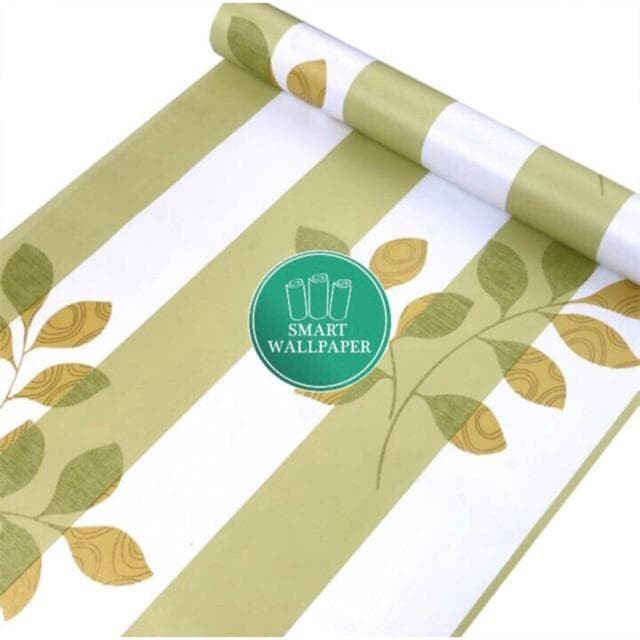 Foto Produk WALPAPER RUANGAN Green Stripe Leaf | Wallpaper 45cm x 10m dari TONG MESER