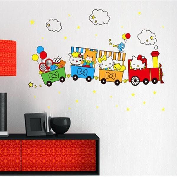 Foto Produk WALPAPER RUANGAN METH ABC1022 KITTY TRAIN wallsticker 60x90/wallstiker dari TONG MESER