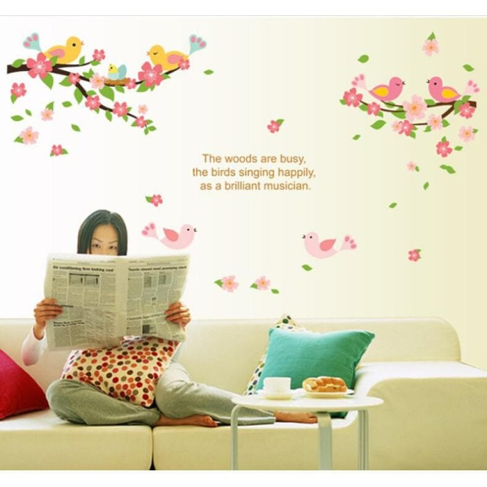 Foto Produk WALPAPER RUANGAN METH AY7230 ROMANTIC BIRD WALLSTICKER 50X70 dari TONG MESER