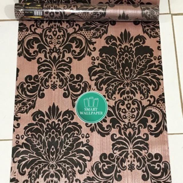 Foto Produk WALPAPER RUANGAN Batik Coklat Hitam   Wallpaper 45cm x 10m dari TONG MESER