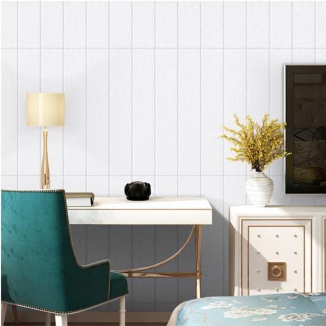 Foto Produk WALPAPER RUANGAN 3D Wood Grind White | Foam Wallpaper 70cm x 70cm dari TONG MESER