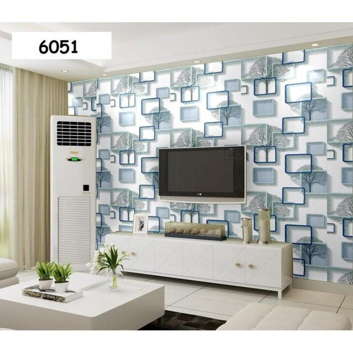 Foto Produk WALPAPER RUANGAN HW34 Wallpaper Dinding Sticker Tempel SQUARE BIRU dari TONG MESER