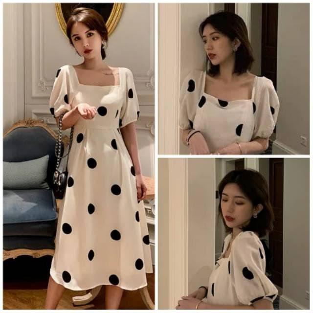 Foto Produk Korea Maxi Dress Polkadot 830 Size XS-XL dari -SUPER STORE-