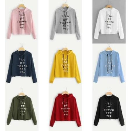 "Foto Produk CELLINE - SWEATER CROP HOODIE ""I'LL BE THERE FOR YOU"" bahan babyterry dari -SUPER STORE-"