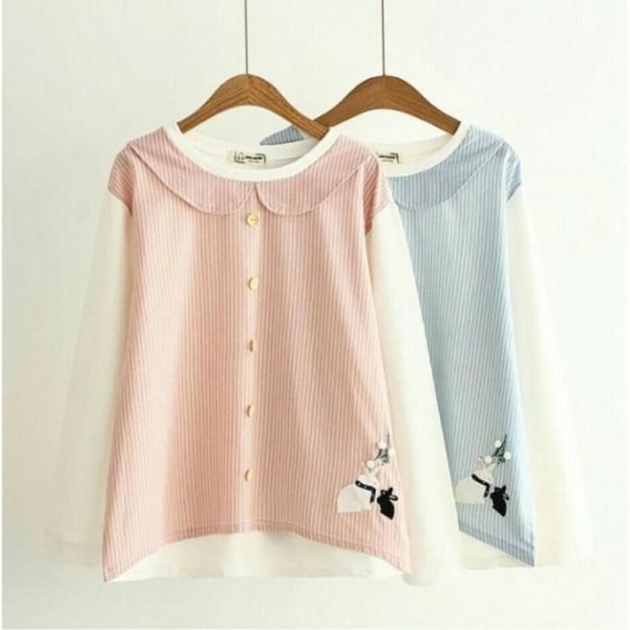 Foto Produk Stripe Rabbit bordir blouse top atasan SALE DAN DIJAMIN MURAH BANGET dari -SUPER STORE-