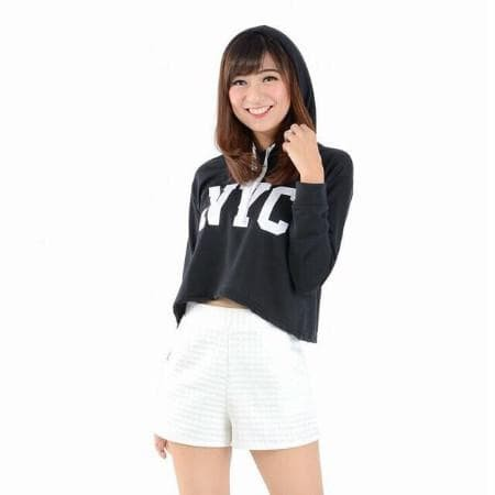Foto Produk CELLINE - CROP Sweater NYC tali hoodie bahan babyterry fit L dari -SUPER STORE-