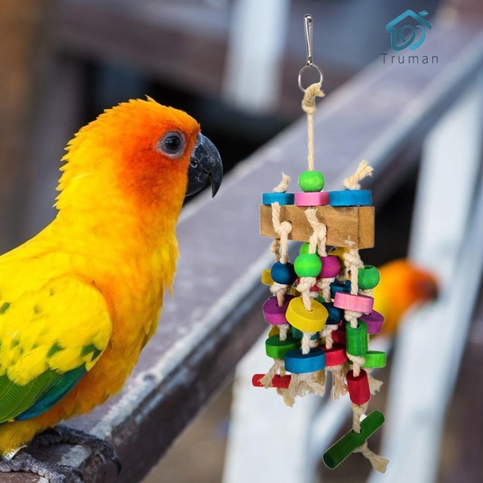 Jual Htc Pet Parrot Toys Wooden Colorful Beads Hanging Climbing Stand Kab Bandung Hot Case Tokopedia