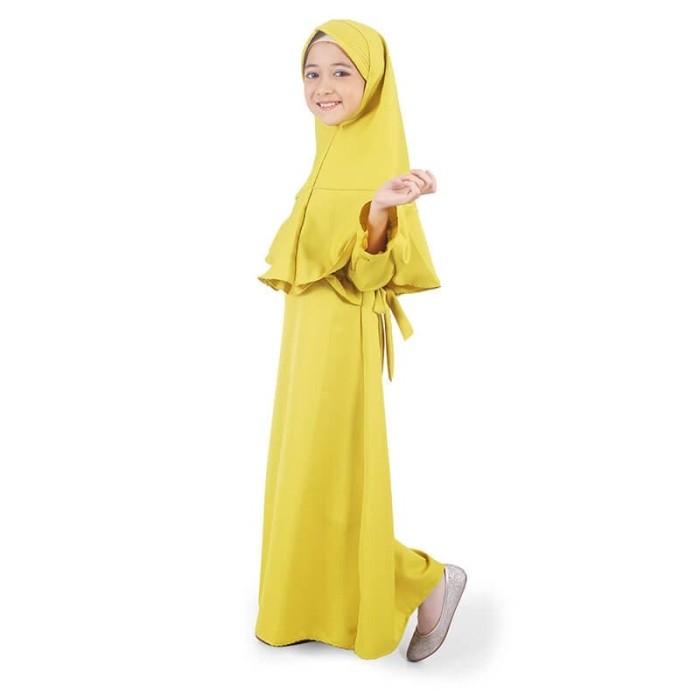 Foto Produk Bajuyuli - Gamis Anak Perempuan Polos Murah Rempel Lonceng Hijau DBH01 - XS dari Bajuyuli