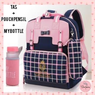 Foto Produk Tas Sekolah Anak Perempuan Tas Wanita Set My Bottle plus Tempat Pensil - Merah Muda dari KebunKoe