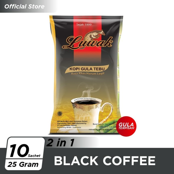 Foto Produk Kopi Luwak Plus Gula Tebu Black Coffee Bag 10x25gr dari Kopi Luwak Official