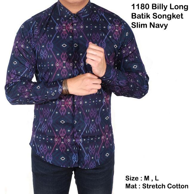 Foto Produk baju batik pria lengan panjang hitam slimfit / kemeja batik songket - Biru, M dari Brotherholicstore