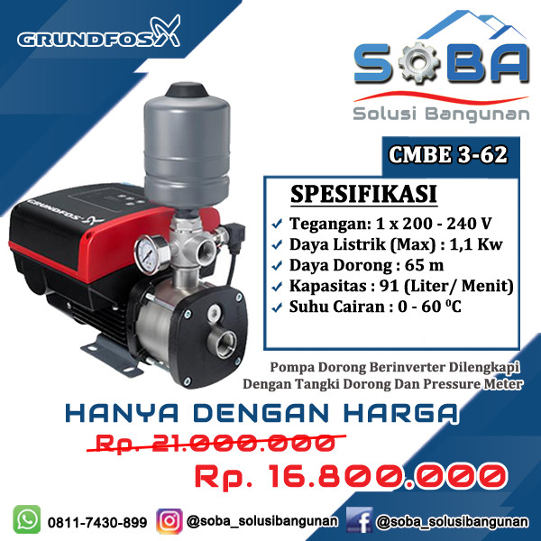 Jual Mesin Pompa Air Booster Pump Inverter Grundfos Cmbe 3 62 Kota Jambi Soba Solusibangunan Tokopedia