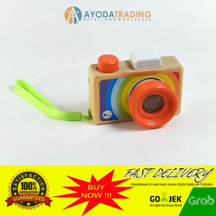 Foto Produk Mainan Edukasi Wooden Camera Kamera Anak not Canon Nikon - Orange dari Ayoda Trading