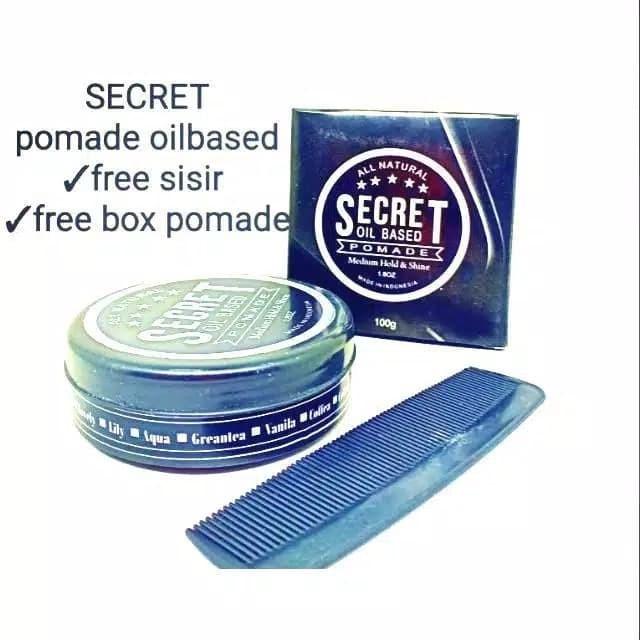 Foto Produk Pomade Secret oilbased 100gram free box dan sisir dari bogel pomade#12
