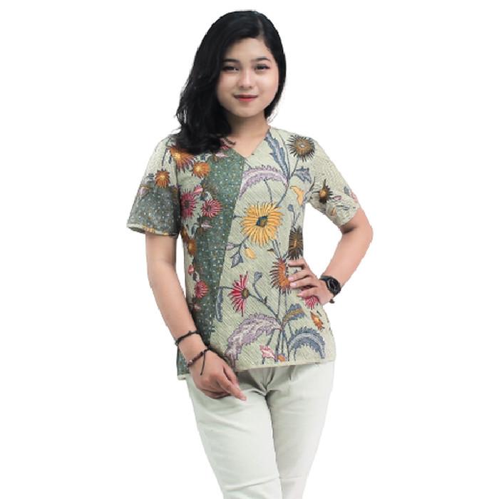 Foto Produk READY S-M-L-XL-XXL-3L-4L-5L -Blouse Batik Atasan Wanita Bunga matahari - S dari BATIK DUA PUTRI