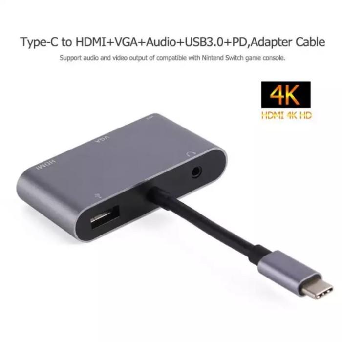 Foto Produk Kabel Converter 4K 2K Type C 5 in 1 to HDMI/VGA/USB/Type C/Audio - Abu-abu dari Majek Ilak Tech Store