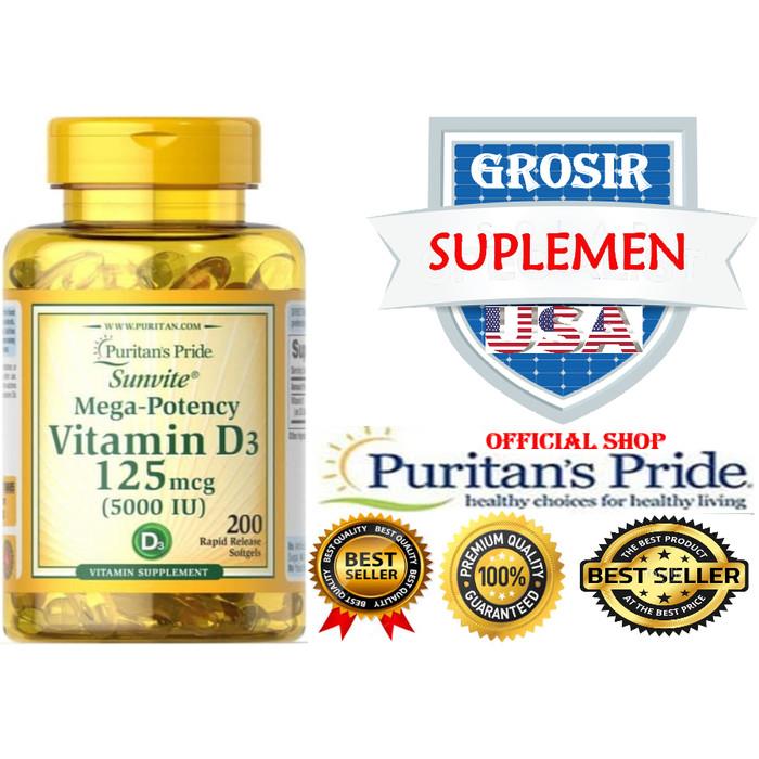 Foto Produk Puritan Vitamin D3 5000 IU 200 Softgels dari GROSIR SUPLEMEN USA