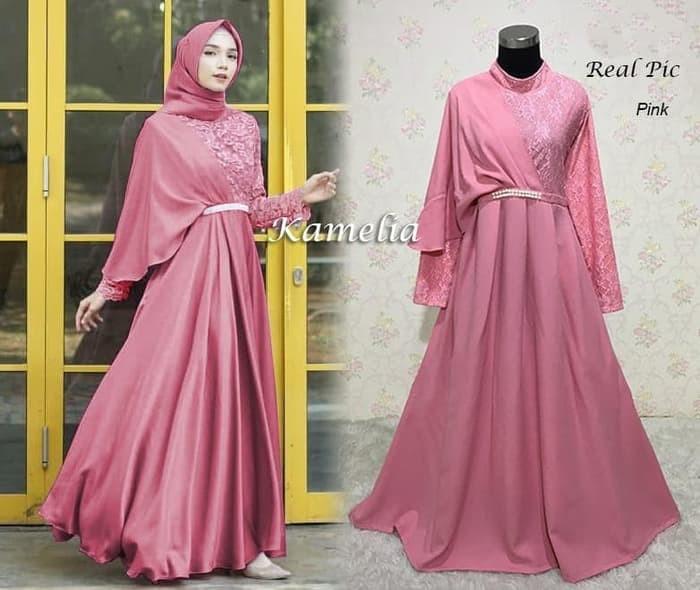 Jual Terbaru 124247 Gamis Pesta Brukat Kamelia Pink Jakarta Barat Meris Fashion Tokopedia