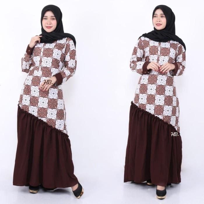Jual Gamis Unggul Jaya Gamis Batik Kombinasi Polos Baju Muslim Wanita Kota Pekalongan Sahfa Batik Pekalongan Tokopedia
