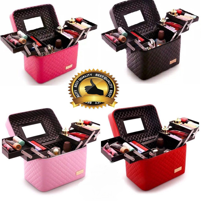 Foto Produk MAKE UP CASE KOTAK KOSMETIK - BOX KOSMETIK - COSMETIC BOX - Hitam dari NetPlus