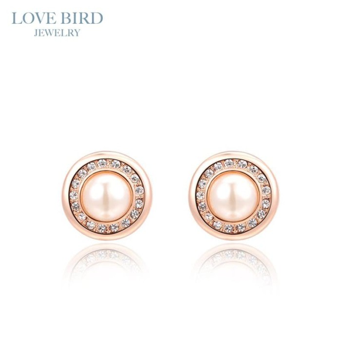 Jual Lovebird Austrian Crystal Rose Gold Round Pearl Earrings Jakarta Utara Love Bird Jewelry Tokopedia