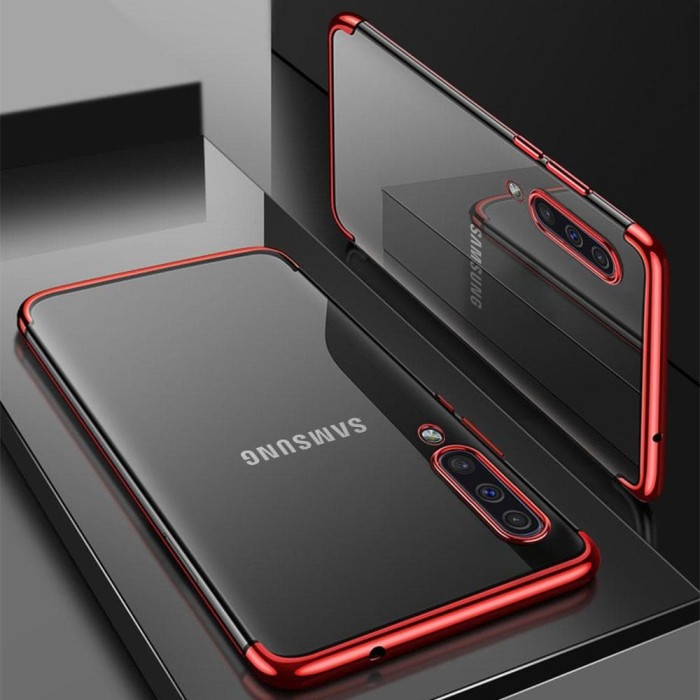Foto Produk Samsung A50s TPU Plating softcase casing case cover Transparant - Black dari Jakey Online Shop