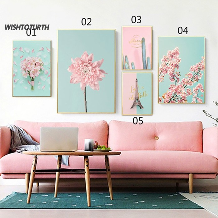 Jual Poster Kanvas Lukisan Bunga Sakura Nordic Untuk Dekorasi Dinding Jakarta Barat Pusat Ramay Tokopedia