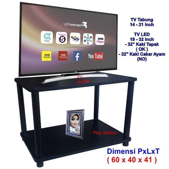 Foto Produk Rak TV Minimalis Hitam 2 Susun ( RS2-4060 ), Rak TV Murah, Meja TV, le dari Surya Racks Furniture
