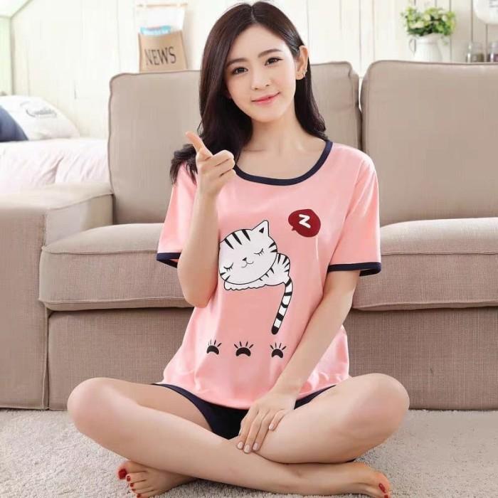Foto Produk Baju Tidur Piyama Kaos Pink Cat Sleep Celana Pendek Wanita Dewasa dari SJLA Store