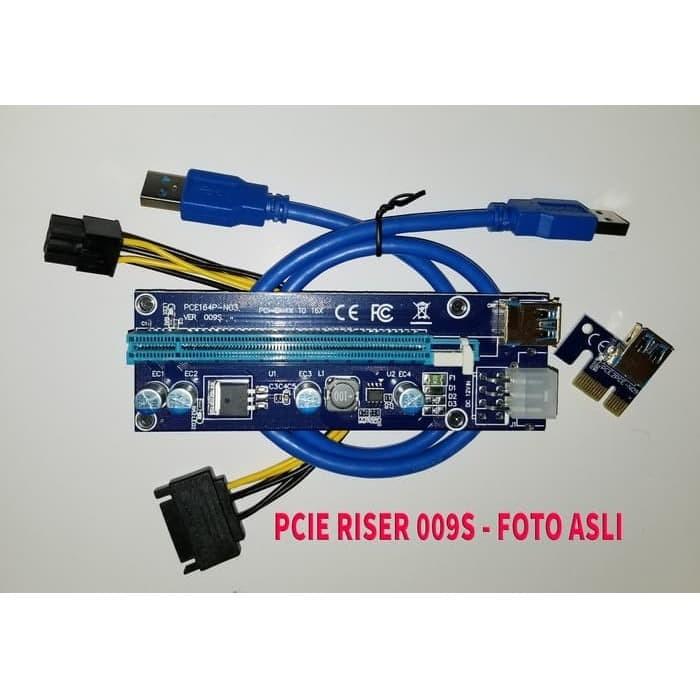 Foto Produk VERSI 009S BITCOIN MINING PCI-E PCIE Express Riser Card 1x to 16x dari Gudang Metro JKT