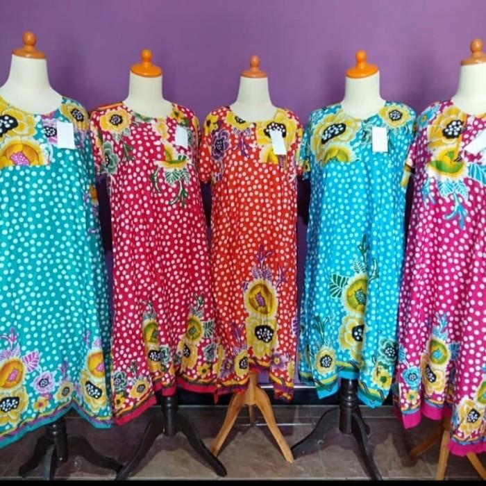 Foto Produk Daster Batik Busui Lengan Pendek - Motif Bunga Kuning Besar dari Parvez Grosir